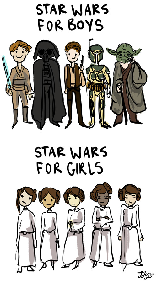 Star was for boys (5 different characters) Star wars for girls (all dresses as Leia)