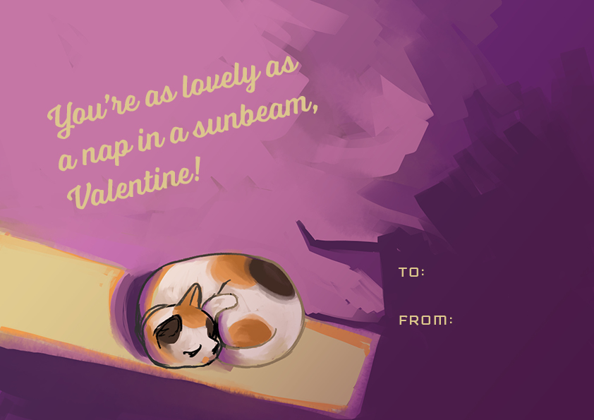 "A cat in a sunbeam with the words ""You're as lovely as a nap in a sunbeam, Valentine!"""